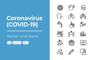 Coronavirus Vector Line Icons