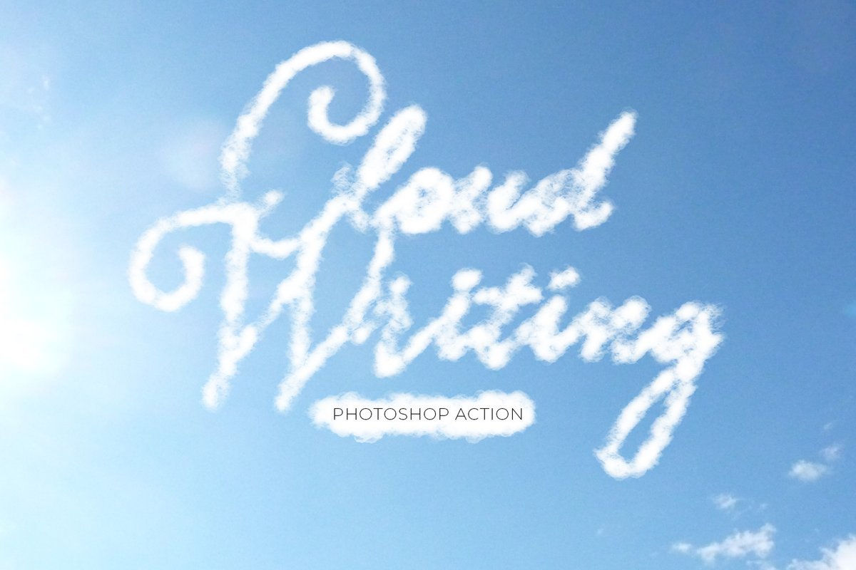 Cloud Writing Photoshop Action Medialoot