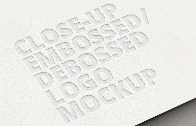 Close-up Embossed Debossed Logo Mockup