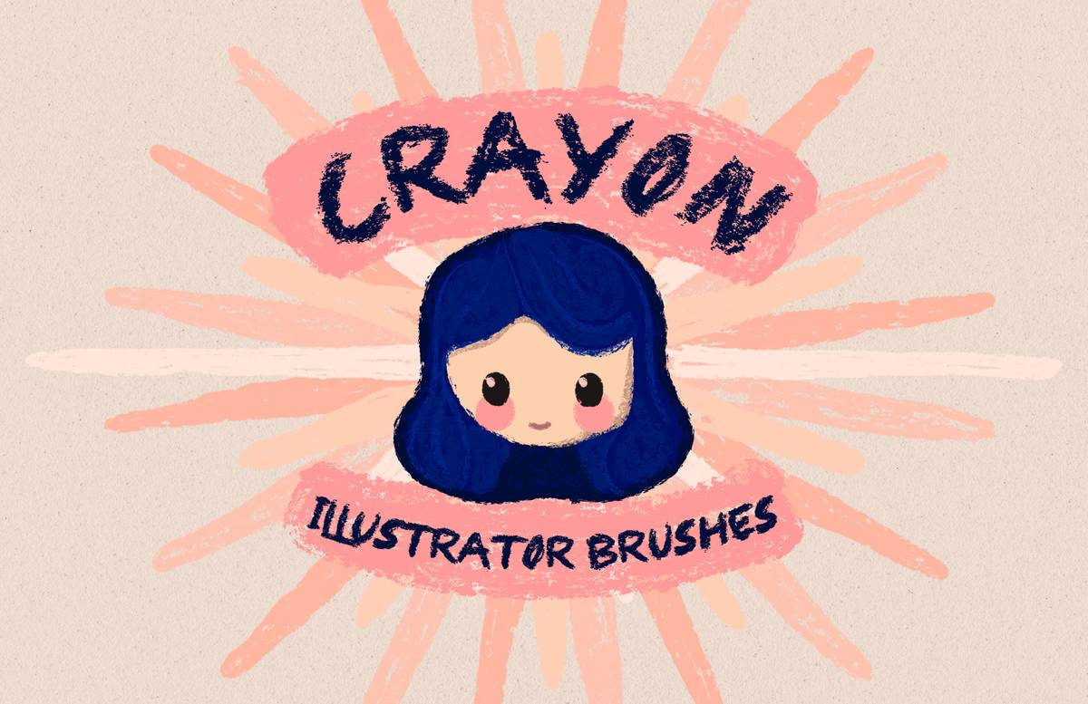 Crayon Illustrator Brushes Preview 1