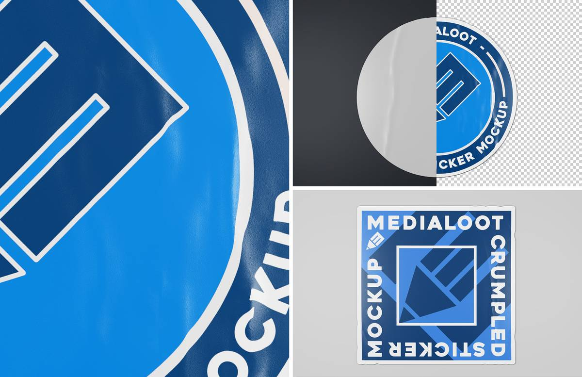 Crumpled Sticker Mockups Preview 1B