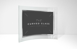 Curved Glass Photo Frame Mockup
