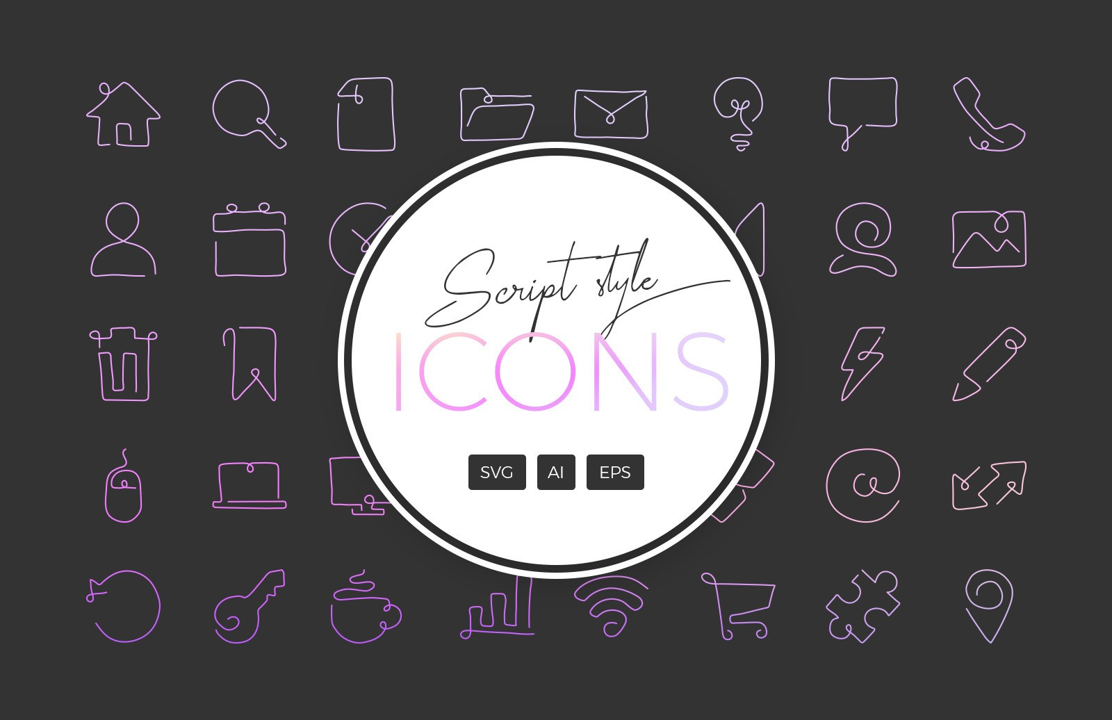 Curved Script Style Single Line Icons Preview 1
