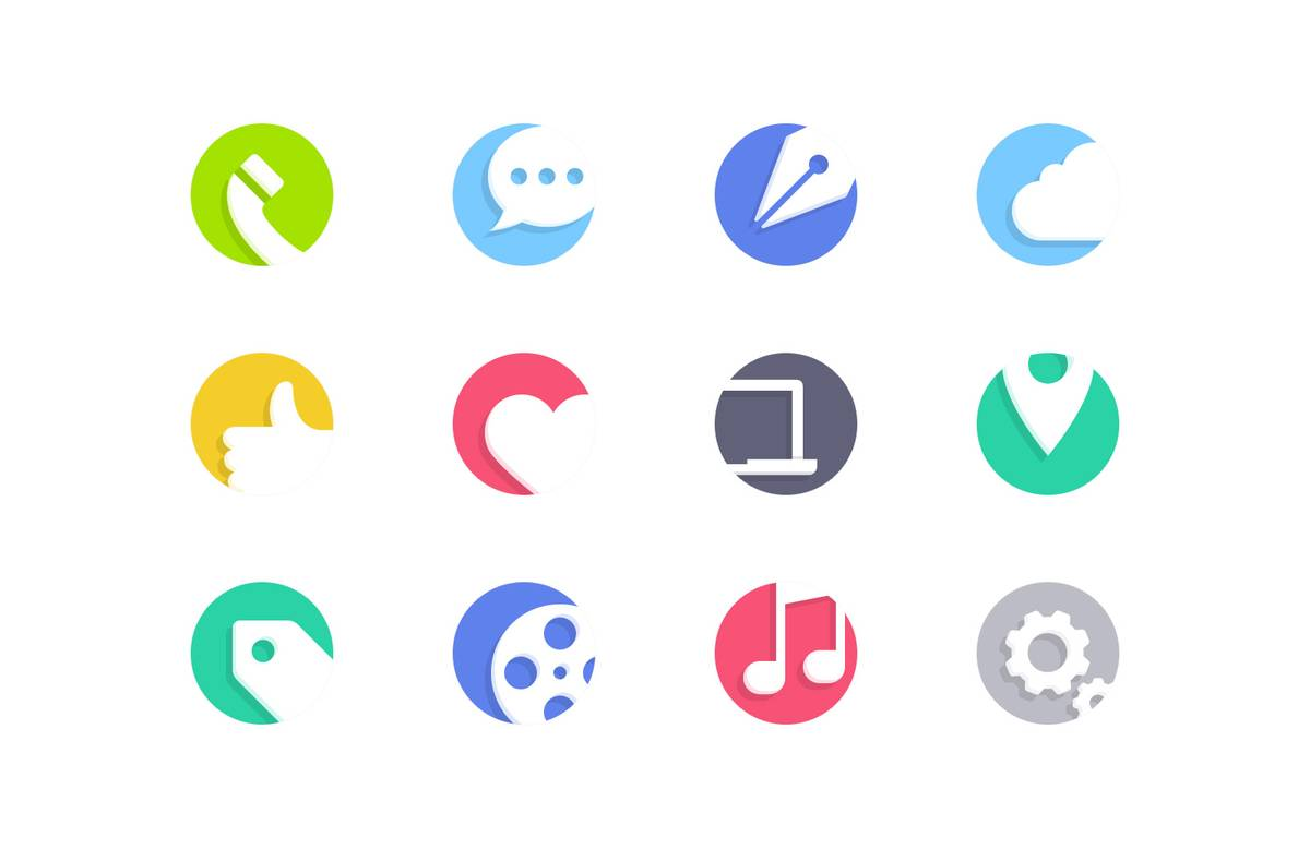 Cutout  Flat  Vector  Icons  Preview 1