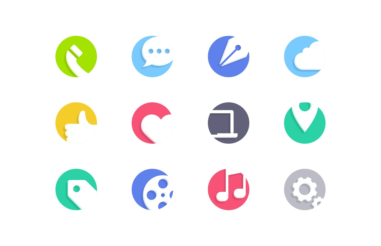 Cutout Flat Vector Icons