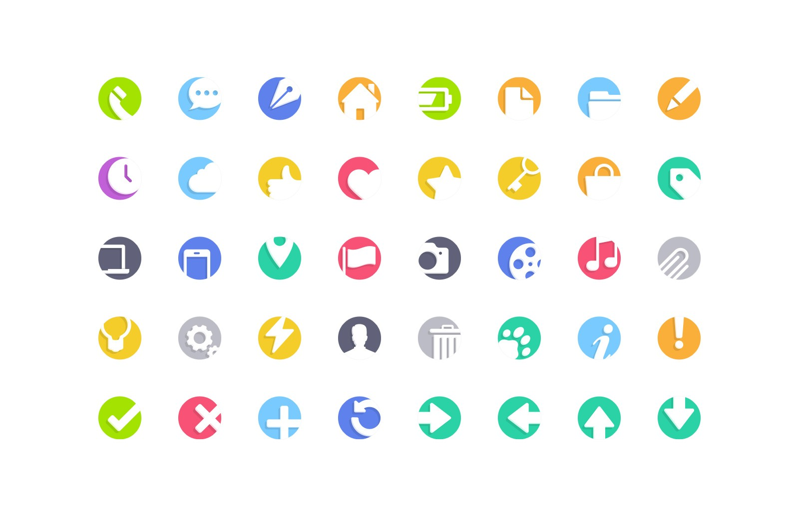 Large Cutout  Flat  Vector  Icons  Preview 2