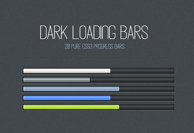 Dark CSS3 Loading Progress Bars