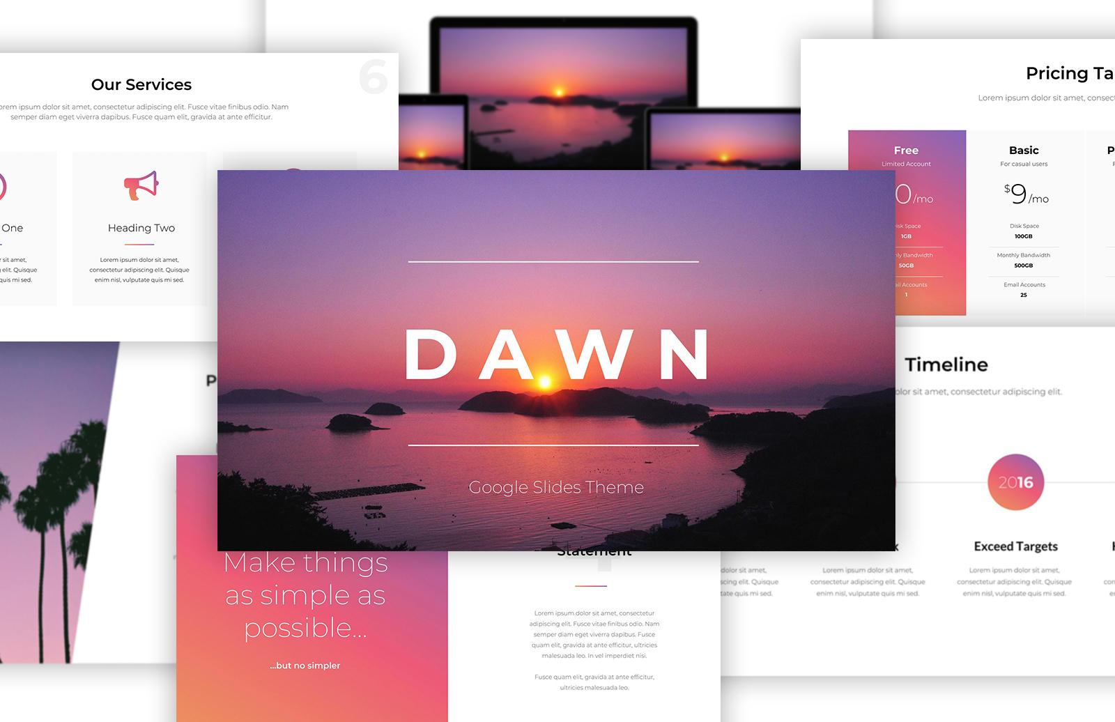 Dawn Free Google Slides Theme Preview 1