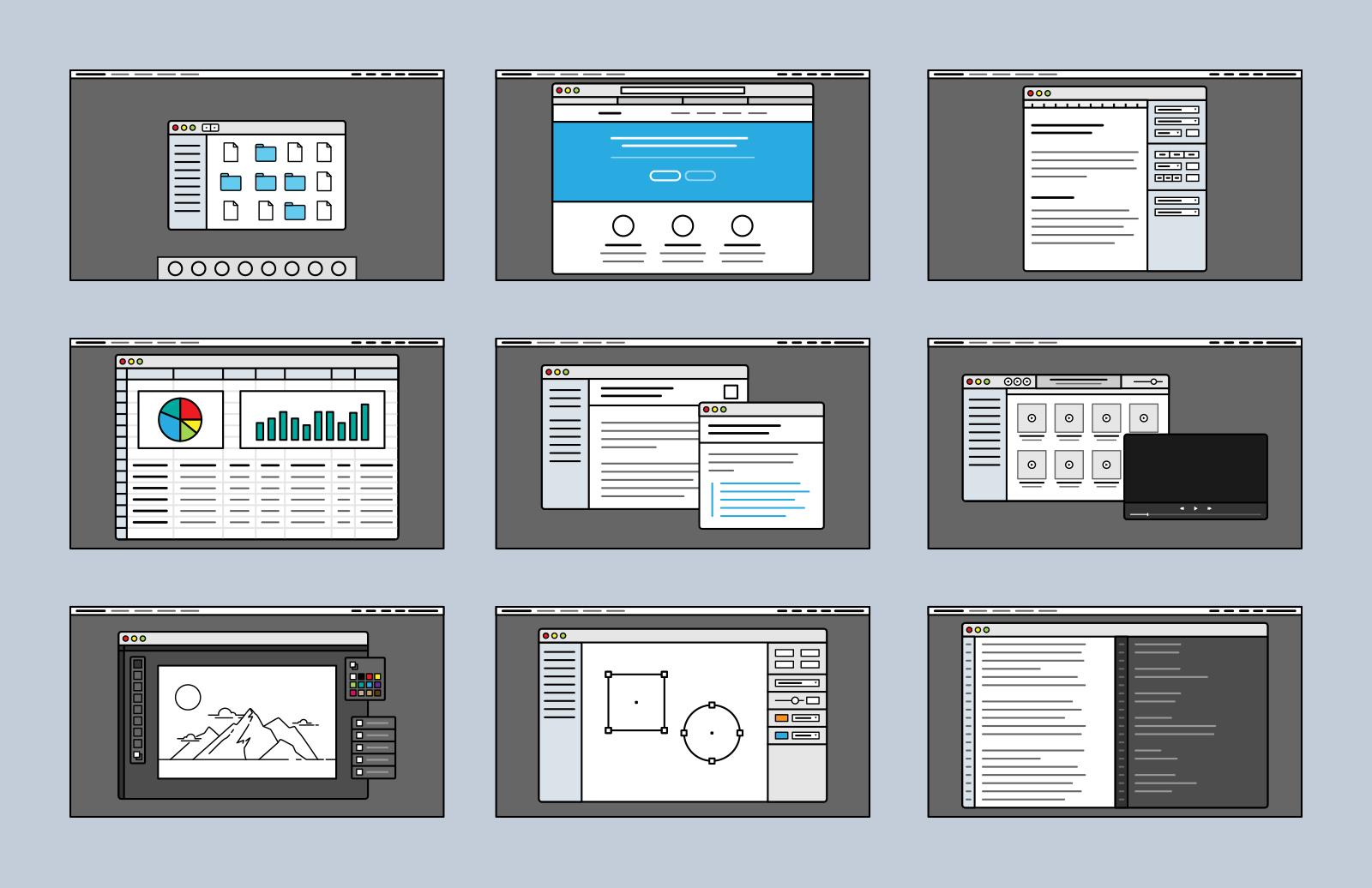 Desktop  Screen  Vector  Icons  Preview 4