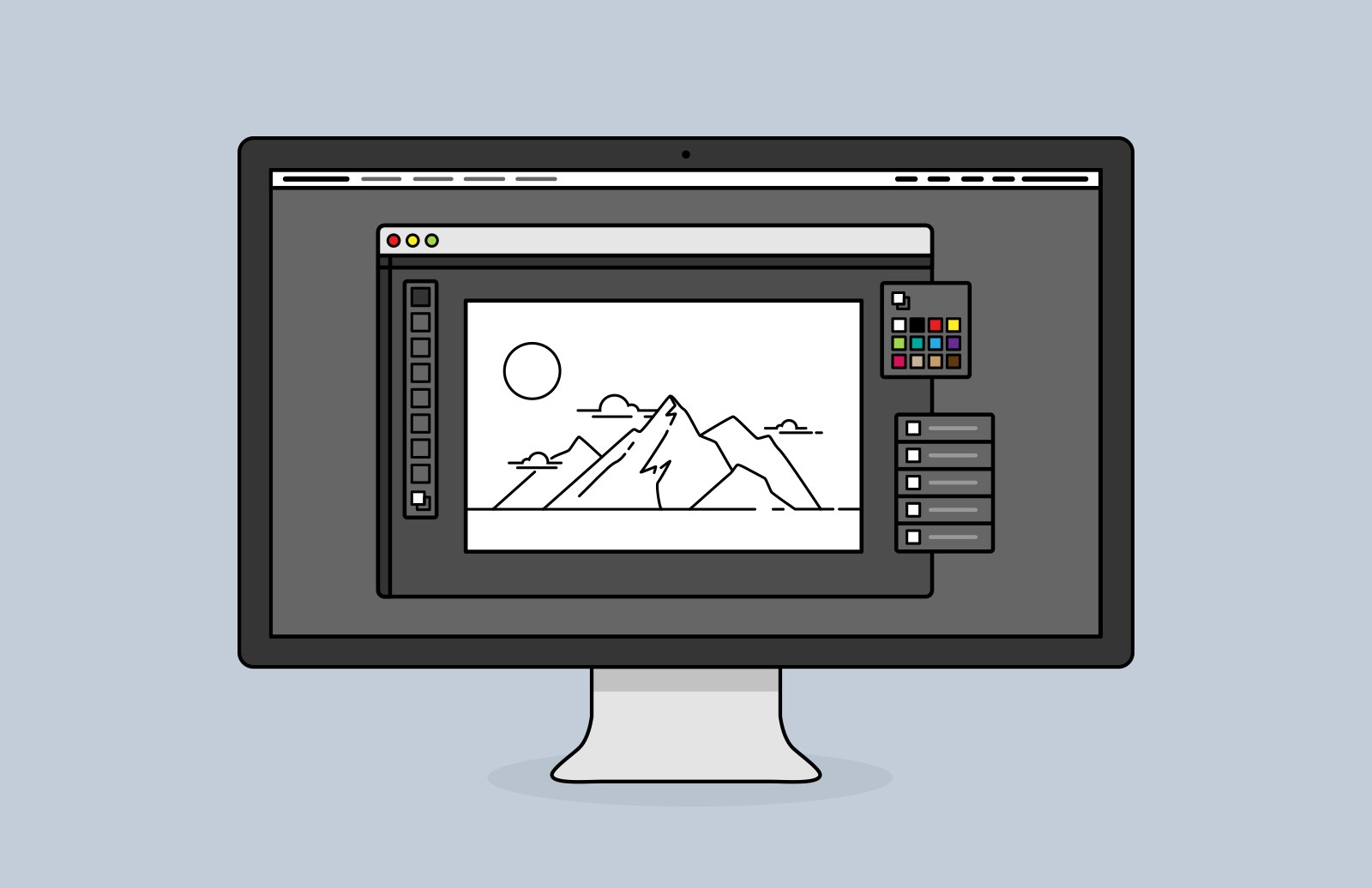 Large Desktop  Screen  Vector  Icons  Preview 1