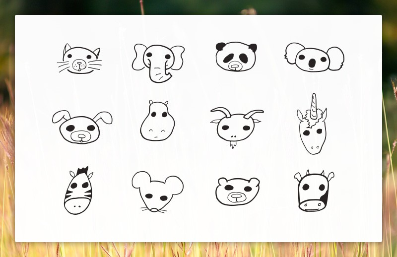 Large Doodled  Vector  Animal  Faces  Preview 1