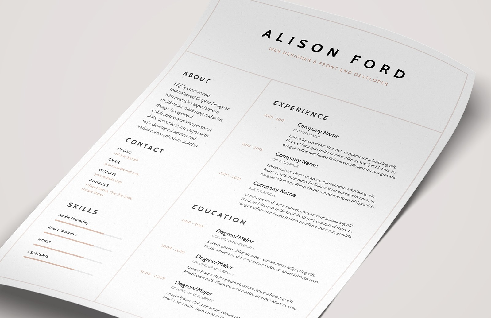 Elegant CV Resumé Template (AI, Word)
