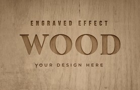 Engraved Wood Text Mockups