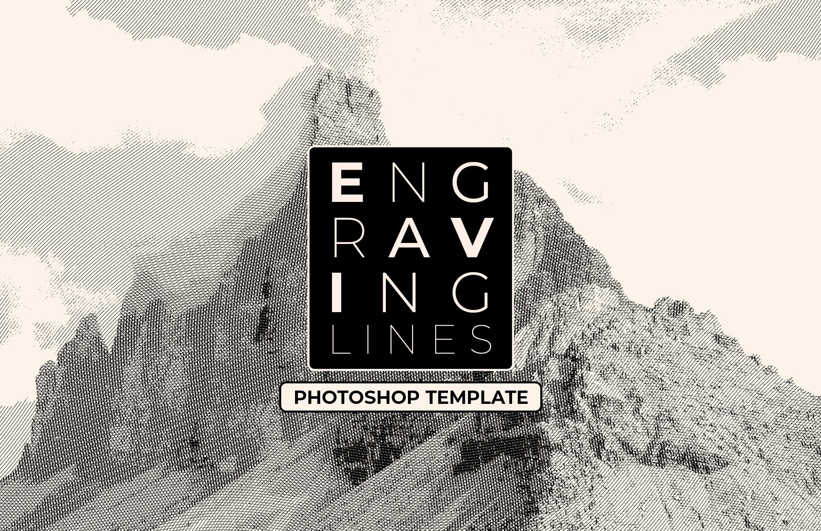 Engraving Lines Photoshop Template Preview 1
