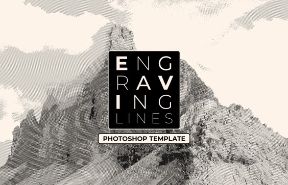 Engraving Lines Photoshop Template