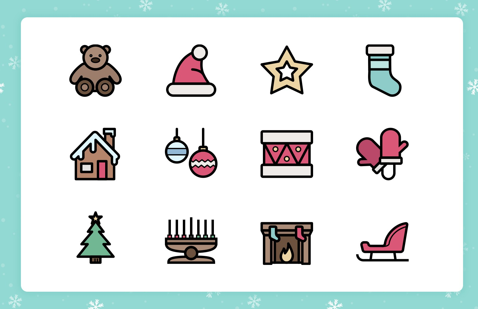 Festive Line Icons (Outlined & Color) 1