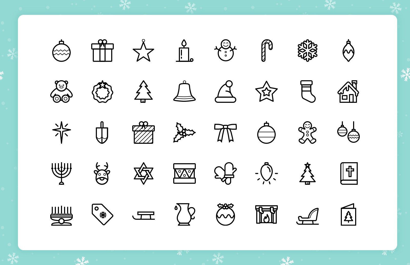 Festive Line Icons (Outlined & Color) 2