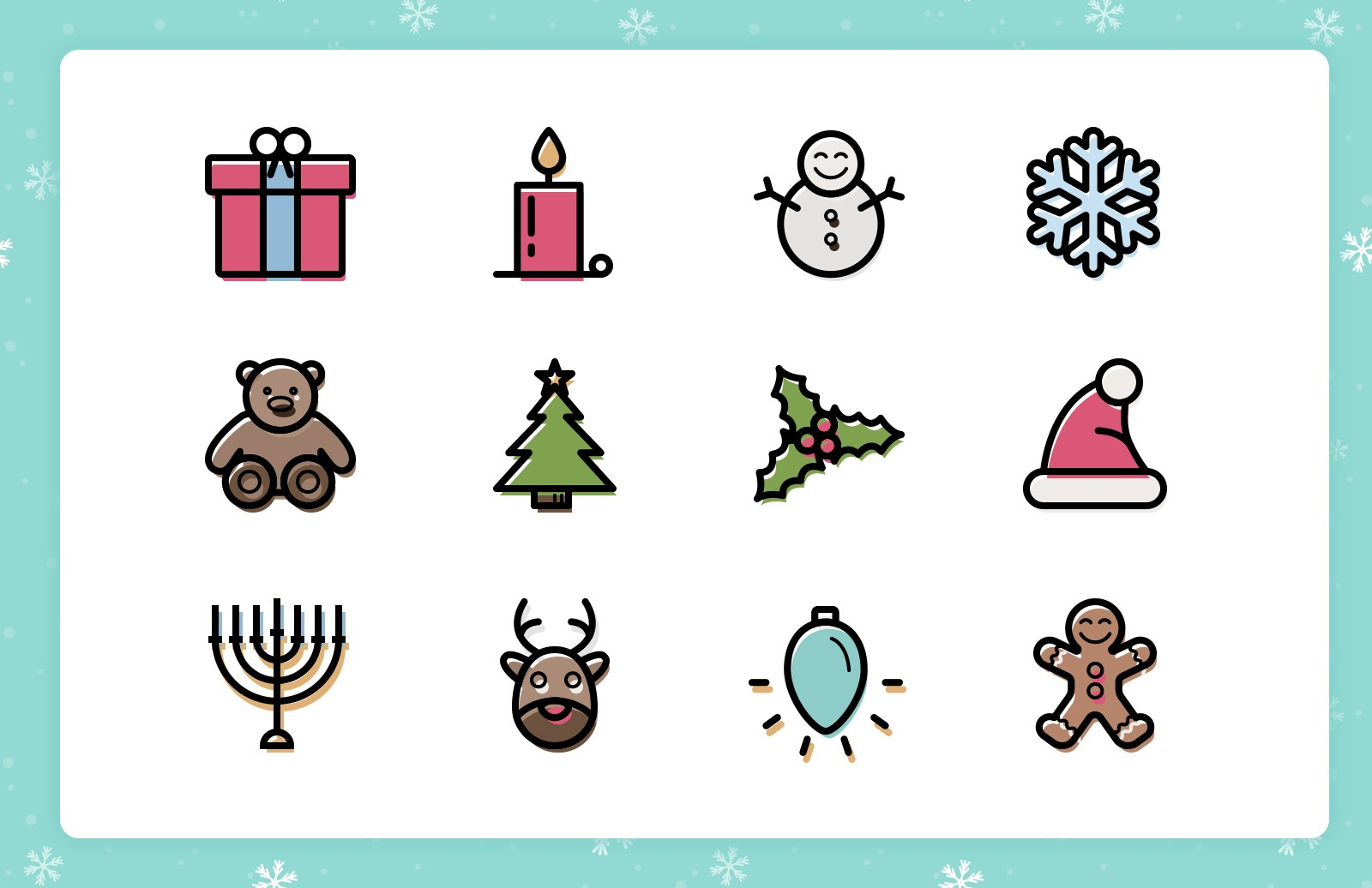Festive  Line  Icons  Preview 1A