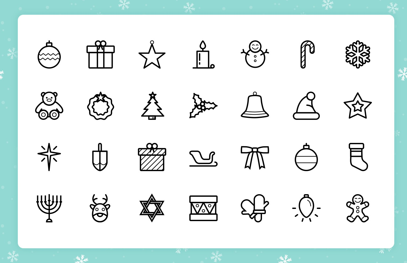 Festive  Line  Icons  Preview 2