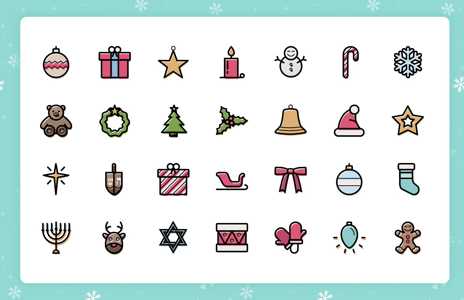 Festive  Line  Icons  Preview 3A