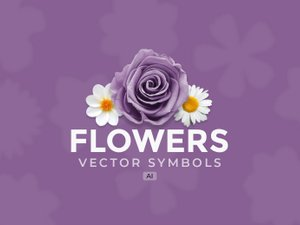 Isolated Flowers Vector Symbols - (AI) 1
