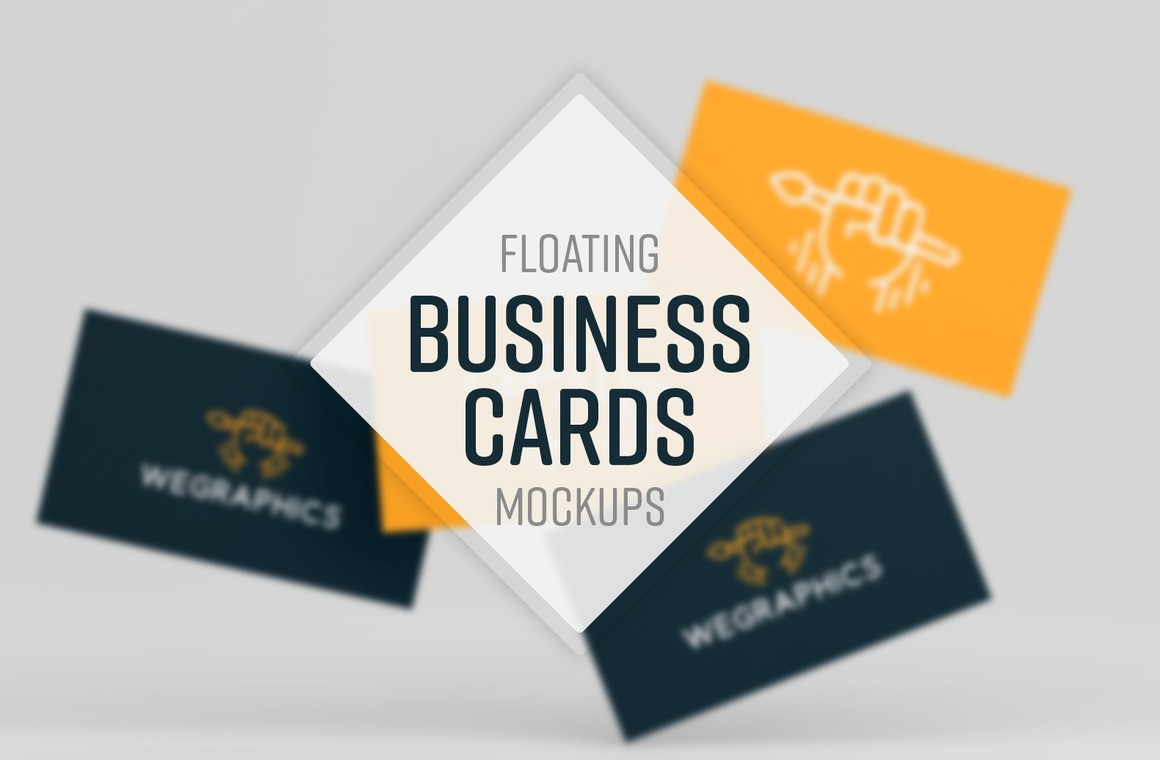 Floating Business Cards Mockups