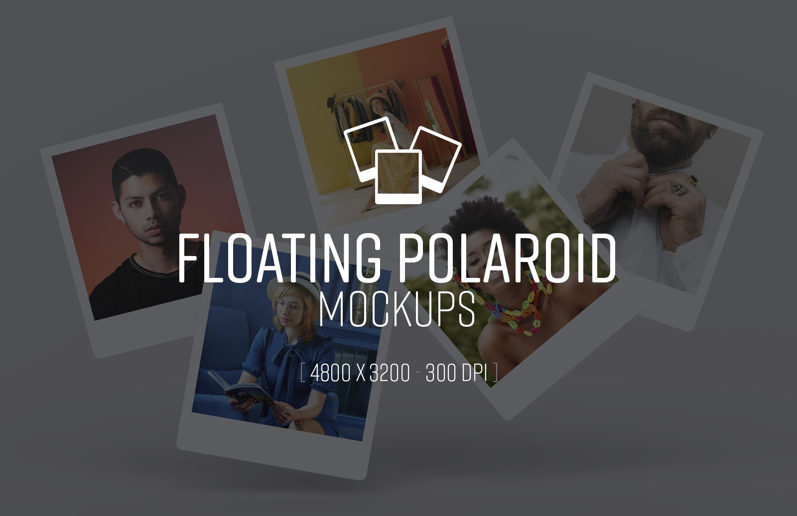 Floating Polaroid Mockups Preview 1