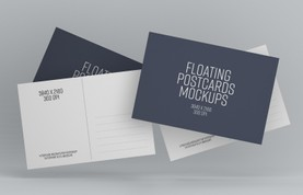 Floating Postcards Mockup