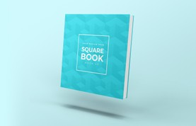 Free Floating Square Book Cover Mockup
