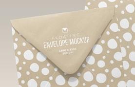 Floating Square Envelope Mockup