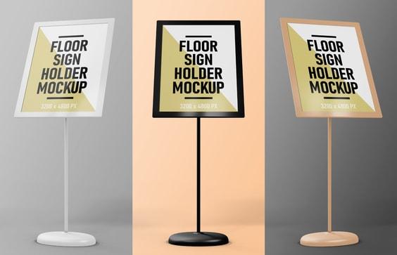 Floor Sign Holder Mockup