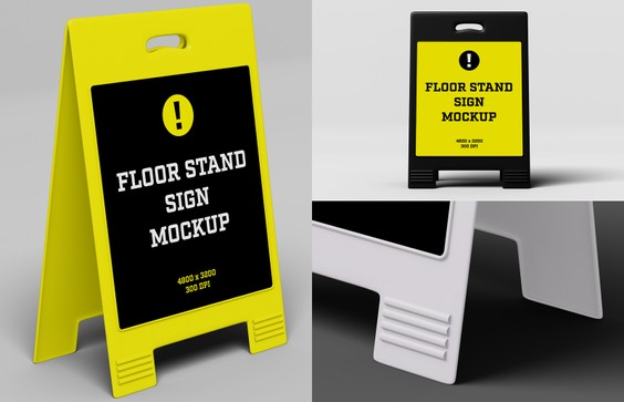 Floor Stand Sign Mockup