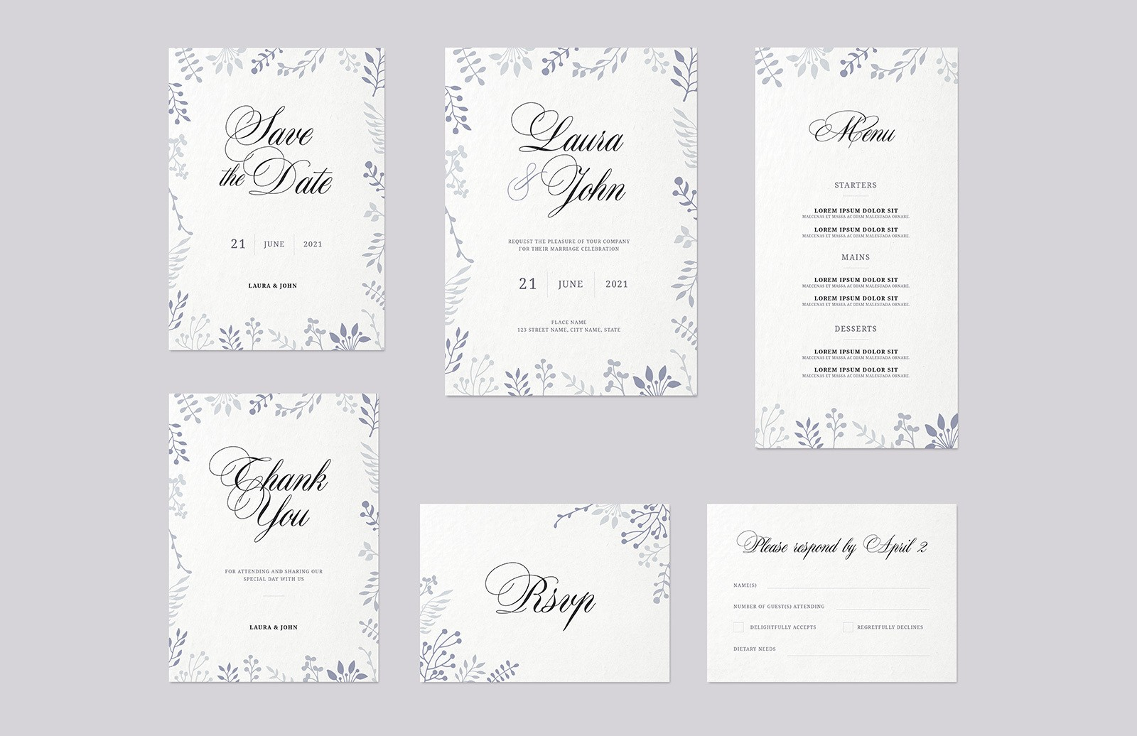Floral Wedding Invitation Set Preview 1