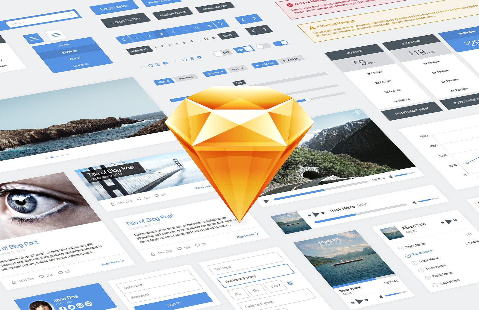 Flat  Ui  Kit For  Sketch  Preview 1
