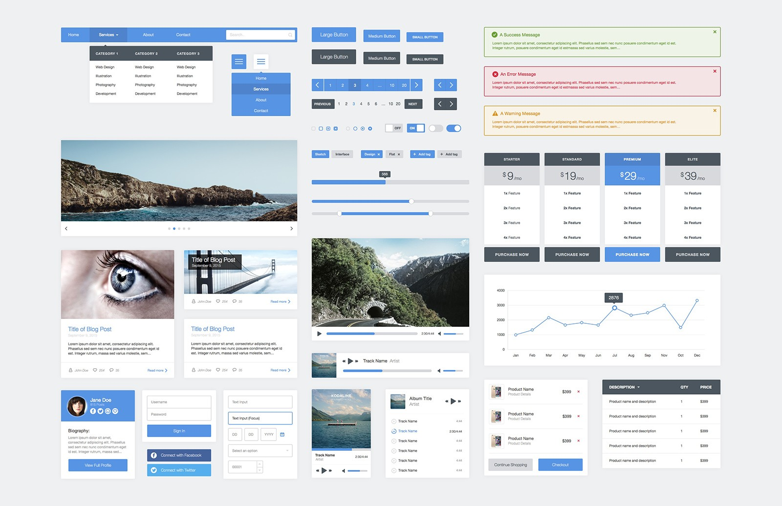 Flat  Ui  Kit For  Sketch  Preview 2