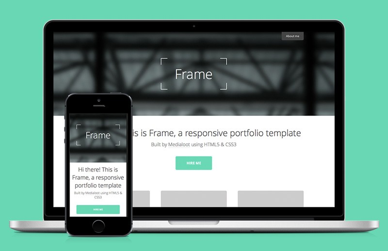 Frame  Responsive  Portfolio  Template  Preview 1