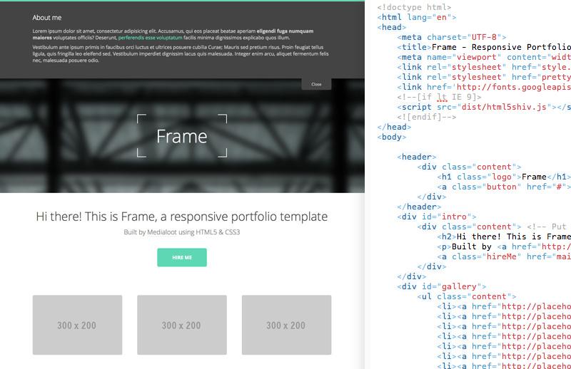 Frame  Responsive  Portfolio  Template  Preview 2