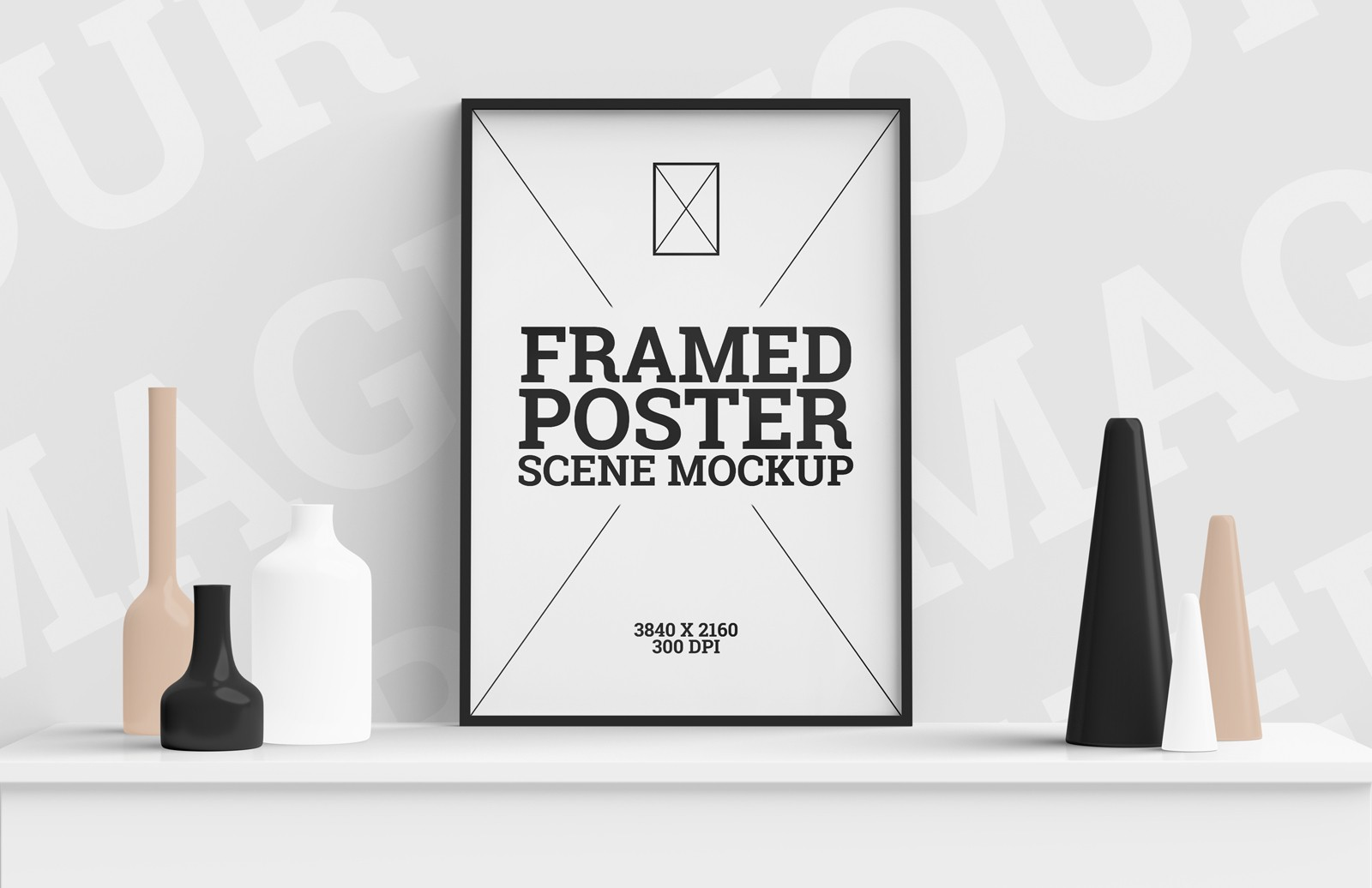 Framed Poster Scene Mockup Preview 1