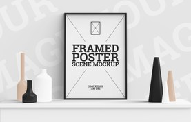 Framed Poster Scene Mockup