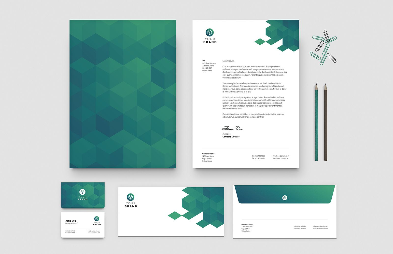 Free Business Card Letterhead Templates Preview 1