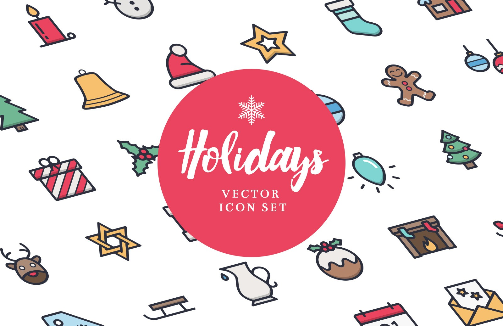 Free Holidays Icon Set (Line & Color)