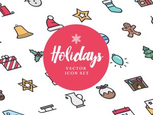 Free Holidays Icon Set (Line & Color) 1