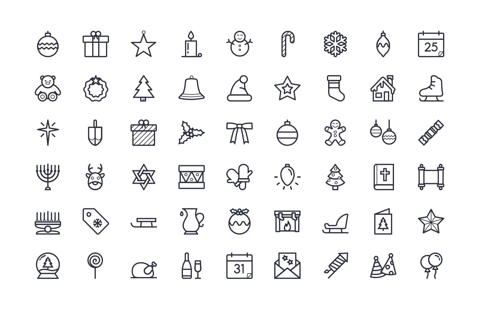 Free Holidays Icon Set (Line & Color)