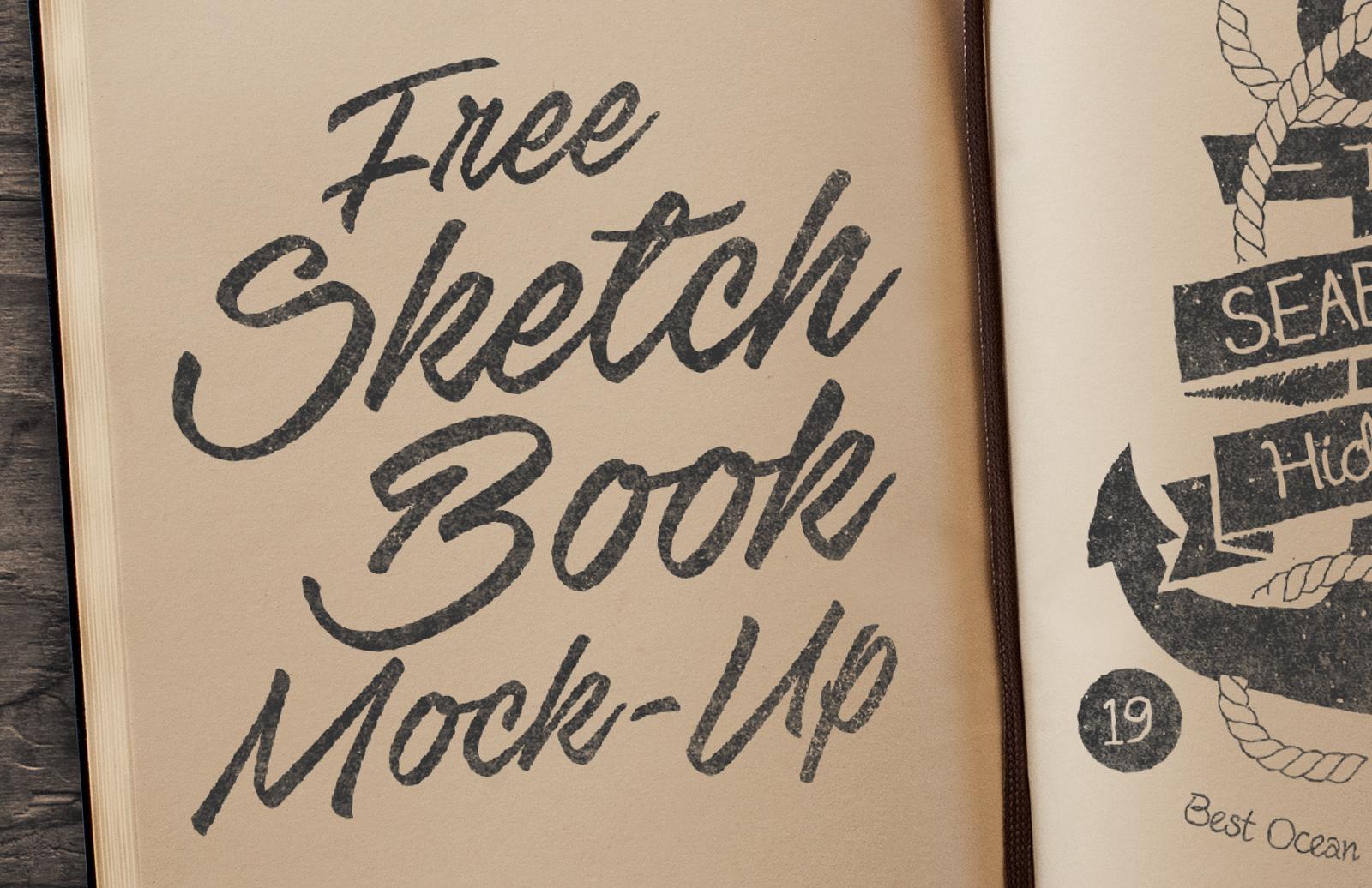 Free Sketchbook Mockup PSD