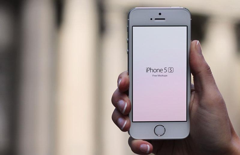 Free I Phone 5 S  In  Hand  Mockups 800X518 2
