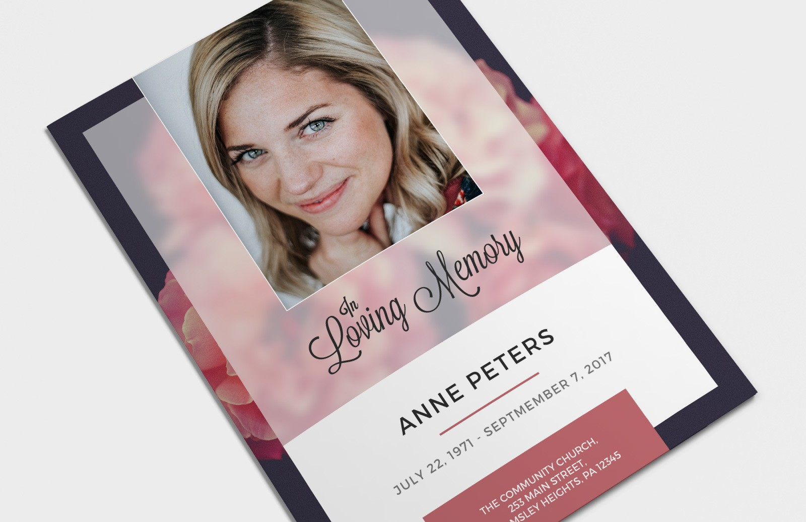 Funeral Program Template Preview 1