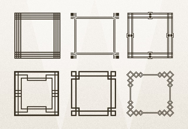 large geometric art deco frames preview3