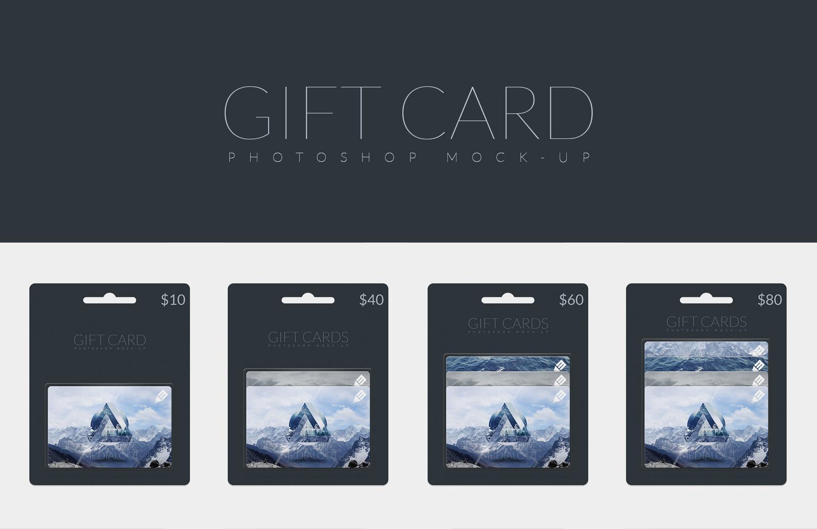 Gift Card Photoshop Mockup