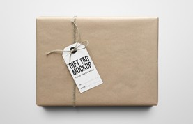 Gift Tag on Craft Paper Package Mockups
