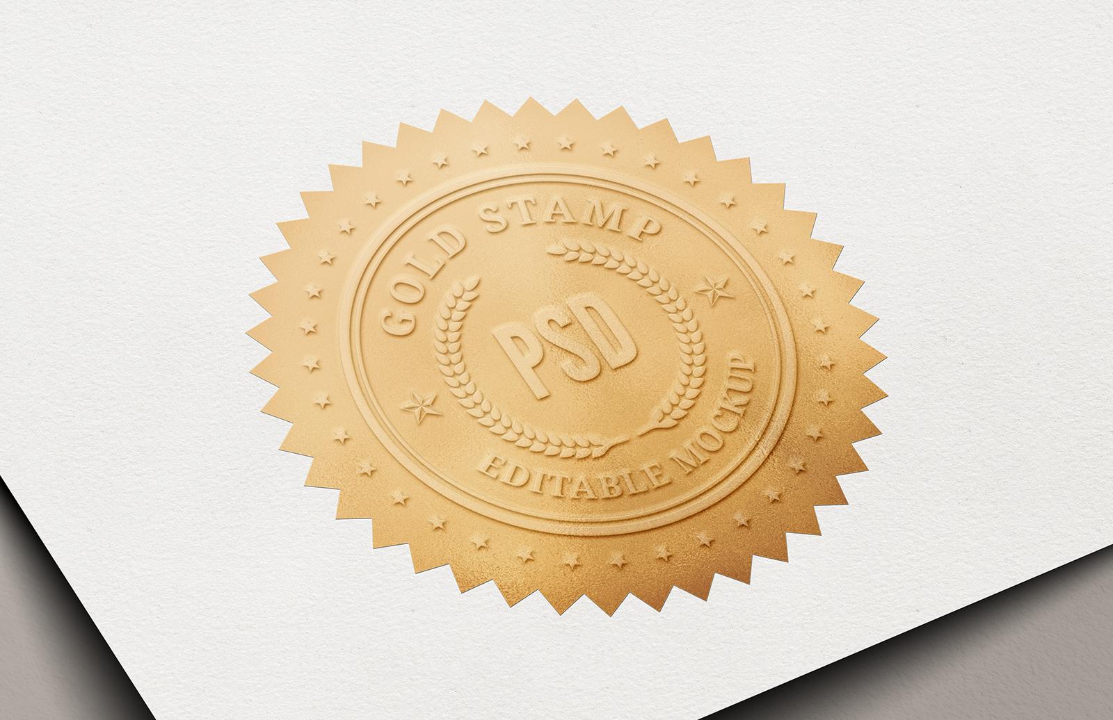 Gold Certificate Stamp Mockup